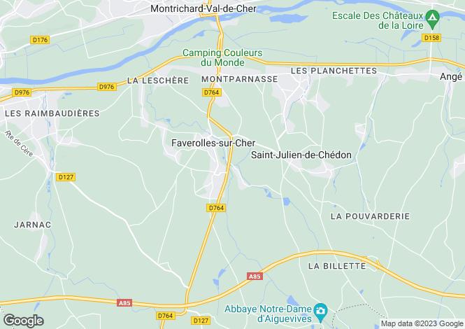 Map for faverolles-sur-cher, Loir-et-Cher, France