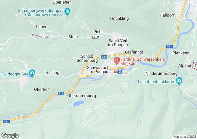 Map for Oberösterreich, Salzburg-Umgebung, Schwarzach im Pongau, Austria
