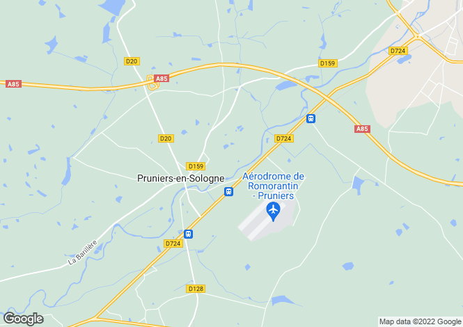 Map for Centre, Loir-et-Cher, Pruniers-en-Sologne