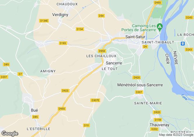 Map for sancerre, Cher, France