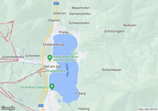 Map for Thumersbach Chalets, Thumersbach, Near Zell Am See, Salzburgerland