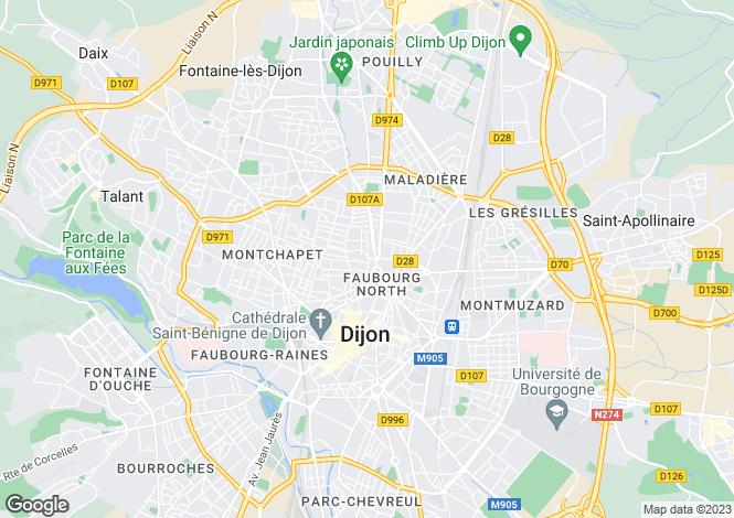 Map for Burgundy, Côte-d`Or, Dijon