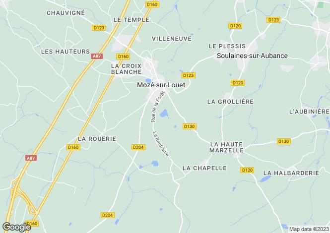 Map for Pays de la Loire, Maine-et-Loire, Mozé-sur-Louet