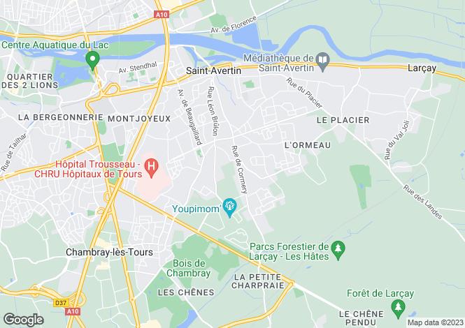 Map for St-Avertin, Indre-et-Loire, Centre