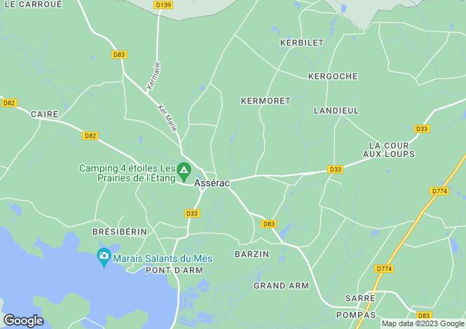 Map for Pays de la Loire, Loire-Atlantique, Assérac