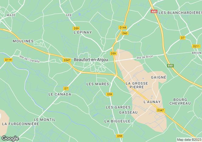 Map for Pays de la Loire, Maine-et-Loire, Beaufort-en-Vallée