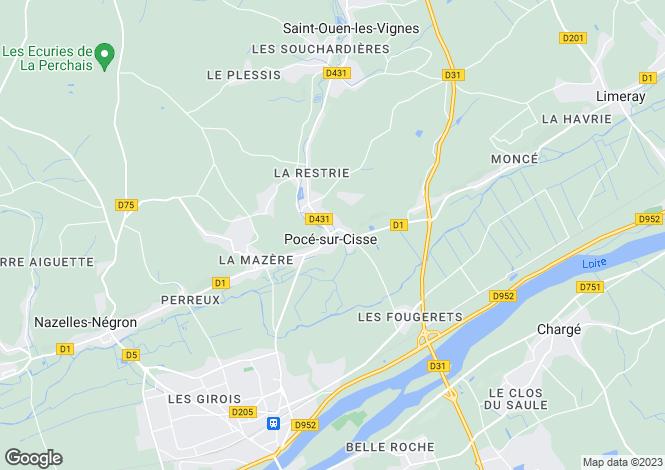 Map for Centre, Indre-et-Loire, Pocé-sur-Cisse