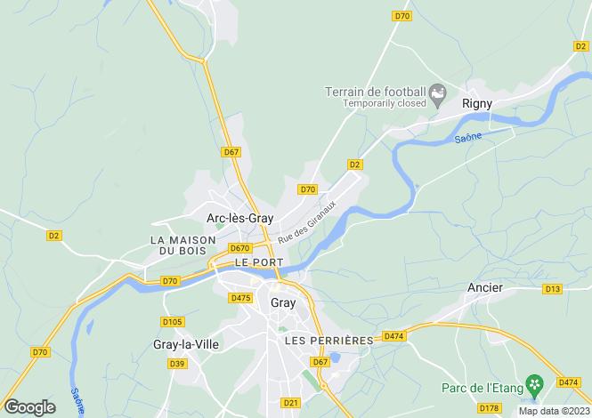 Map for Franche-Comté, Haute-Saône, Gray