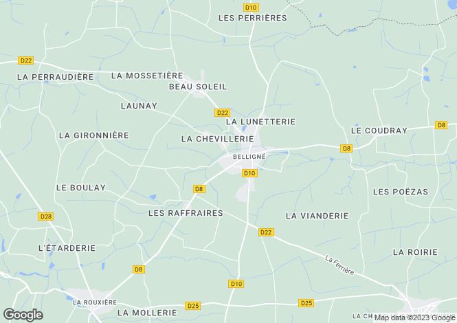 Map for belligne, Loire-Atlantique, France