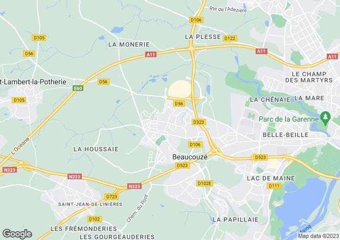 Map for beaucouze, Maine-et-Loire, France