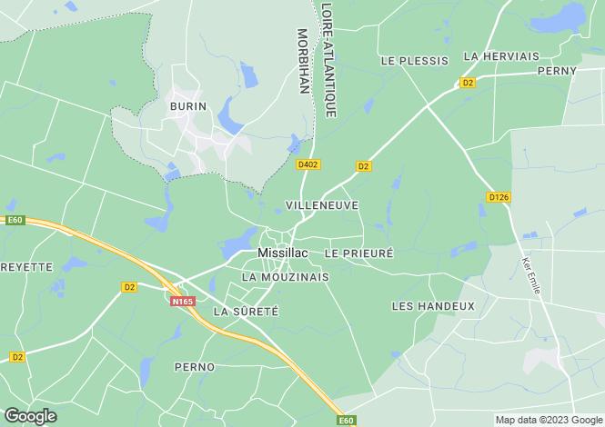 Map for Pays de la Loire, Loire-Atlantique, Missillac