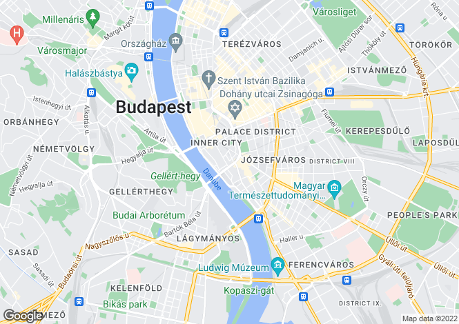 Map for Budapest, District V