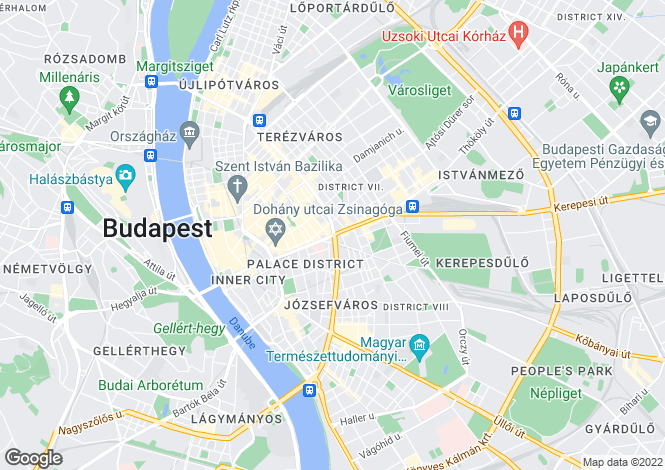 Map for District Viii, Budapest