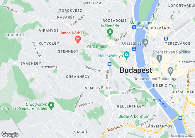 Map for District Xii, Budapest