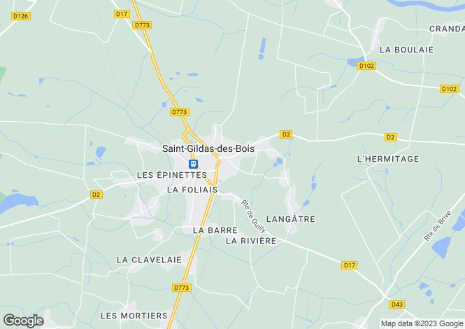 Map for Pays de la Loire, Loire-Atlantique, St-Gildas-des-Bois