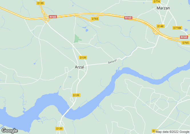 Map for arzal, Morbihan, France