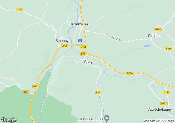 Map for Givry, Yonne, Burgundy