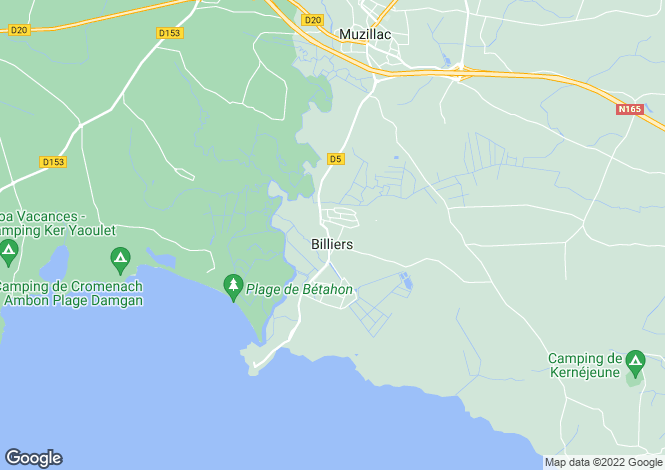 Map for Brittany, Morbihan, Billiers