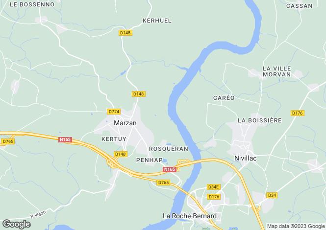 Map for marzan, Morbihan, France