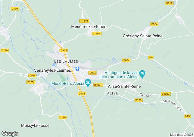 Map for venarey-les-laumes, Côte-d'Or, France