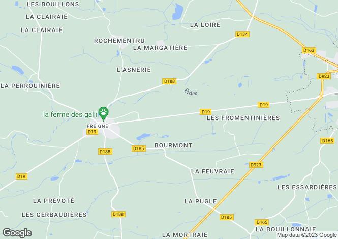 Map for Pays de la Loire, Maine-et-Loire, Freigné