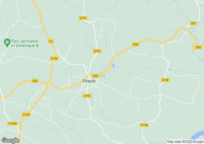 Map for Brittany, Morbihan, Péaule