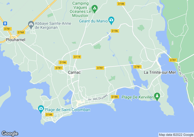 Map for Carnac, Morbihan, Brittany