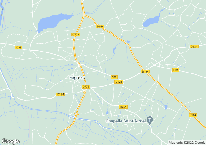 Map for fegreac, Loire-Atlantique, France