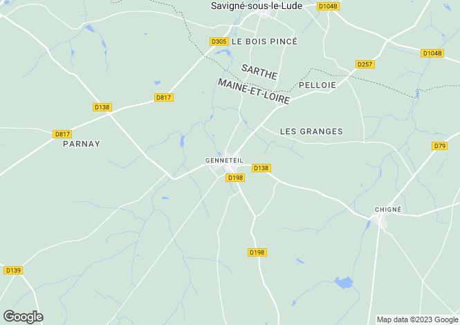 Map for 49490 GENNETEIL, Maine-et-Loire, France
