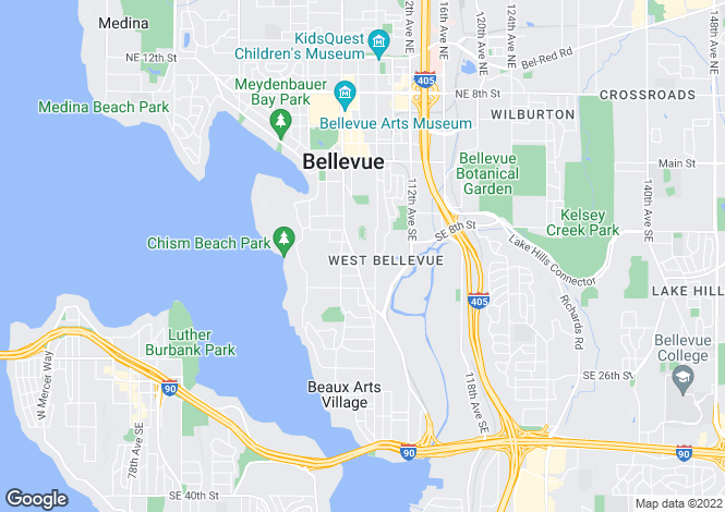 Map for Washington, King County, Bellevue