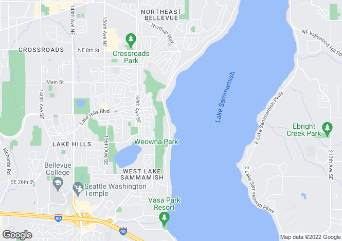 Map for USA - Washington, King County, Bellevue