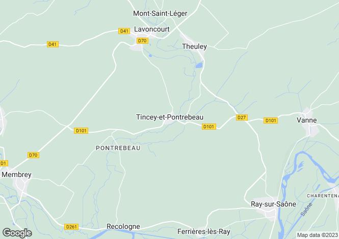 Map for Tincey-et-Pontrebeau, Haute-Saône, Franche-Comté