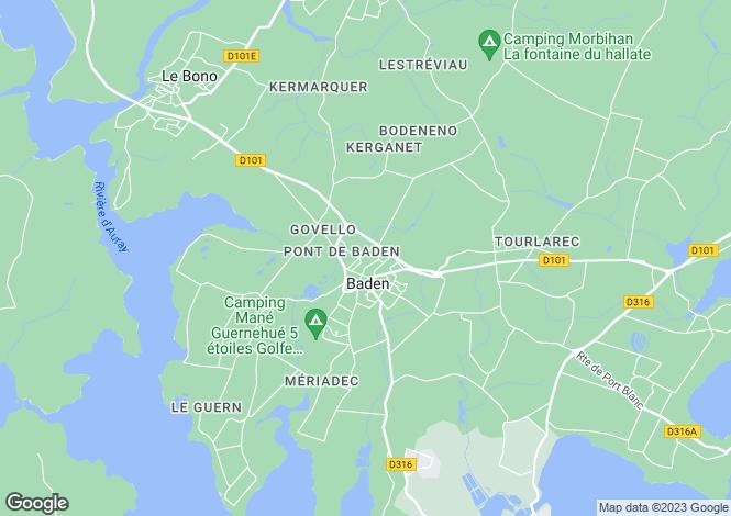 Map for BADEN, Bretagne