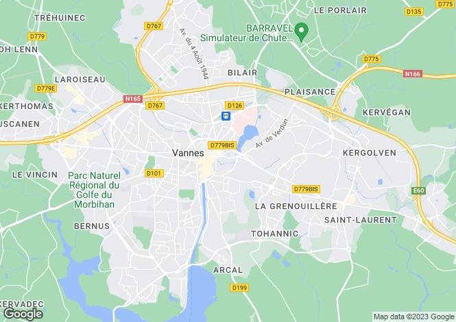 Map for vannes, Morbihan, France