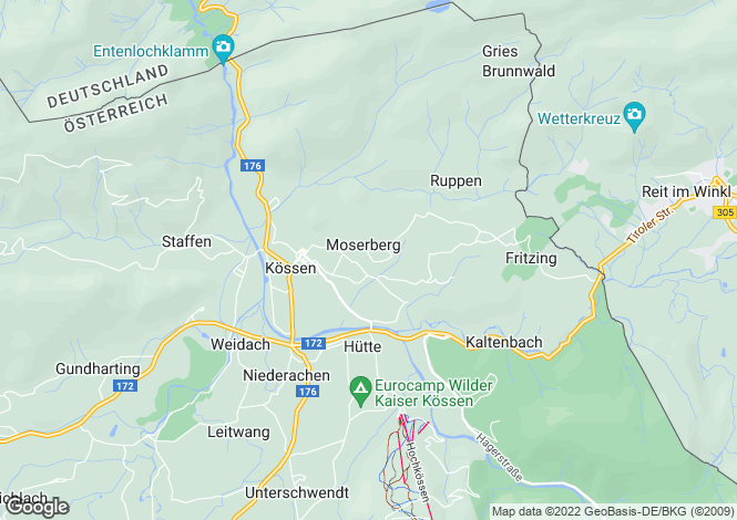 Map for Kossen, Tyrol