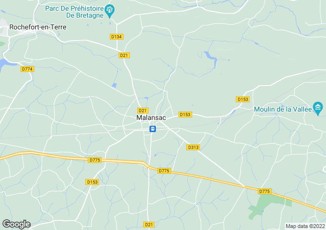 Map for malansac, Morbihan, France