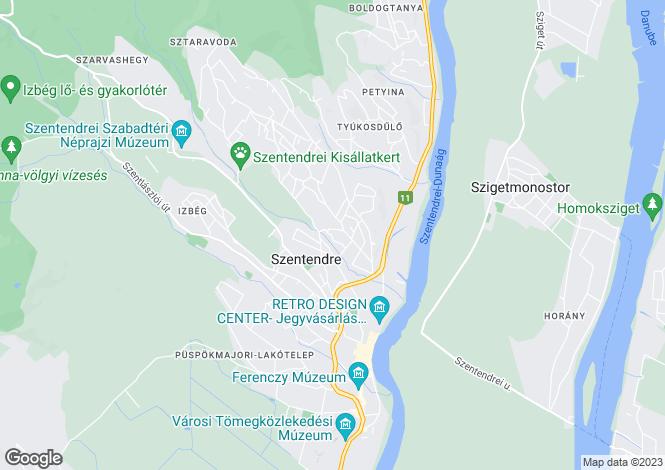 Map for Szentendre, Pest