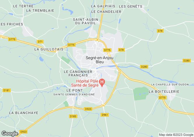Map for Pays de la Loire, Maine-et-Loire, Segré
