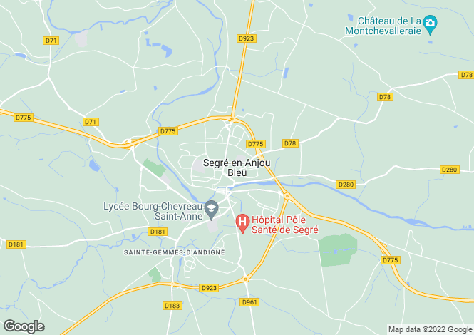 Map for Segre, Maine-Et-Loire, North West France