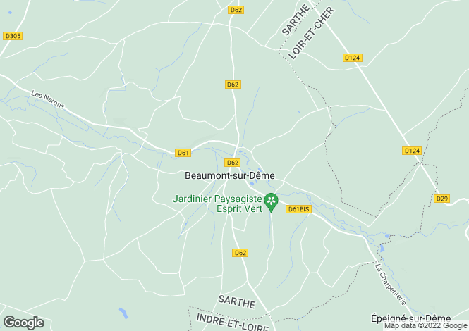 Map for Pays de la Loire, Sarthe, Beaumont-sur-Dême