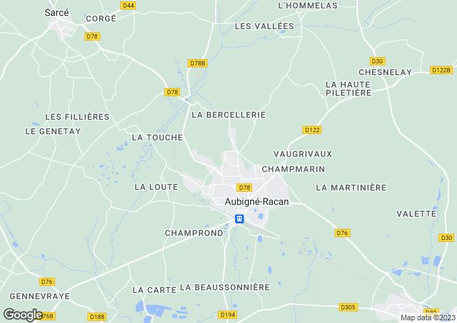 Map for Pays de la Loire, Sarthe, Aubigné-Racan
