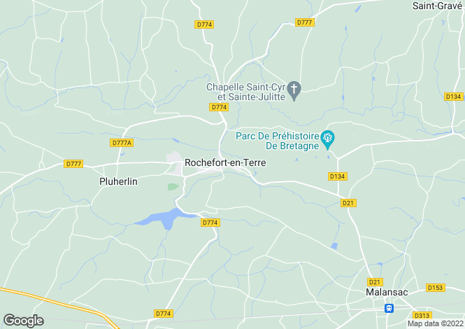 Map for rochefort-en-terre, Morbihan, France