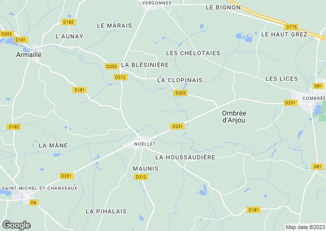 Map for Pays de la Loire, Maine-et-Loire, Noëllet