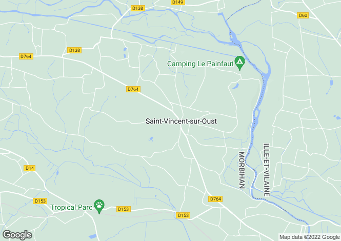 Map for St-Vincent-sur-Oust, Morbihan, Brittany