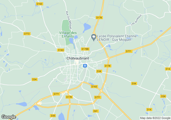 Map for chateaubriant, Loire-Atlantique, France