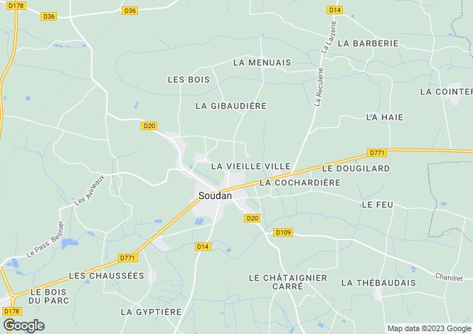 Map for soudan, Loire-Atlantique, France
