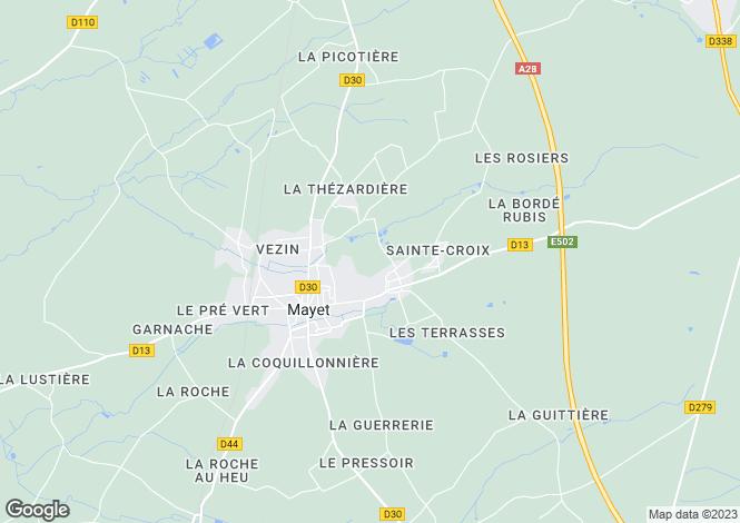 Map for mayet, Sarthe, France