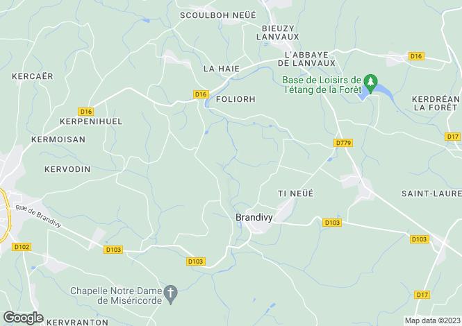Map for brandivy, Morbihan, France