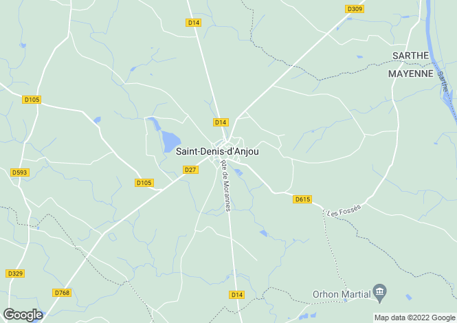 Map for Saint-Denis-d'Anjou, Mayenne, 53290, France