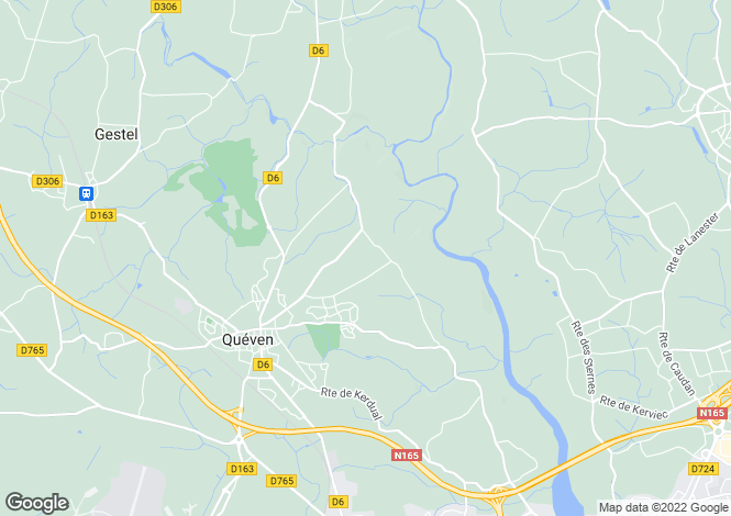 Map for queven, Morbihan, France